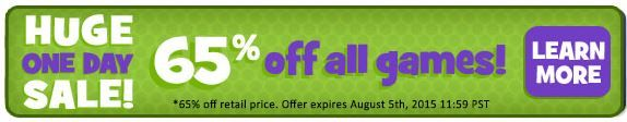 Huge One Day Sale! – 65% off ALL games! Use codes HUGE (Collector's Edition) and DEAL (standard version) at checkout. Valid August 5, 2015. http://wholovegames.com