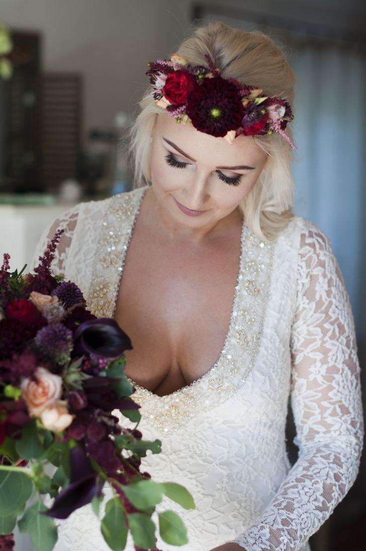 INNA Studio_ flowers for hair / kwiaty do włosów / kolorowa opaska / marsala / fot. Blackgalaxy Photography