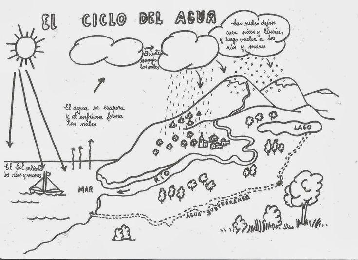 El Ciclo del Agua para colorear | Dibujos para Niños | Proyectos que ...