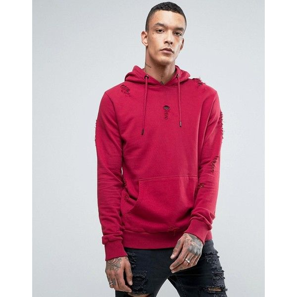 Criminal Damage Shoreditch Hoodie (120 SAR) ❤ liked on Polyvore featuring men's fashion, men's clothing, men's hoodies, red, mens graphic hoodies, mens sweatshirt hoodies, mens tall hoodies, mens hoodies and mens cotton hoodies
