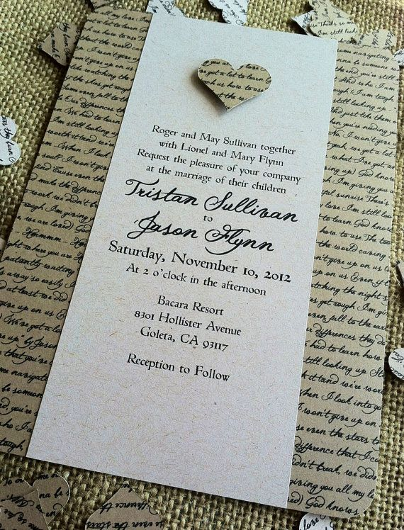 RUSTIC Wedding Invitation - Lyrical Love Collection - Song Lyrics - VINTAGE…