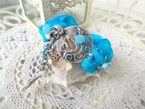 GOD Post Bracelet Turquoise Silk Bracelet  Arabian Style