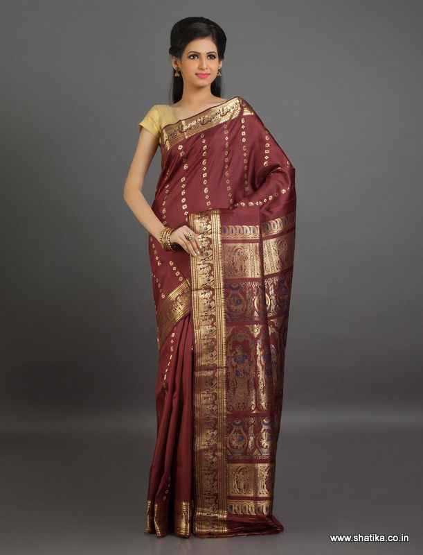 This #BaluchariSilkSaree decked out in bright #maroon #color depicting scenes from epic, is a true representation of our rich culture and tradition.