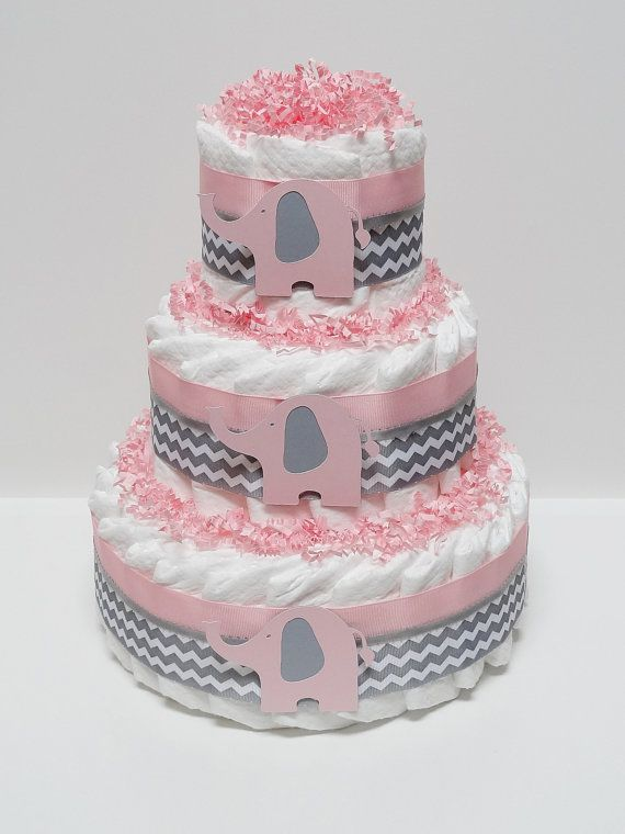 Pink And Gray Elephant Safari Jangle Diaper Cake Baby