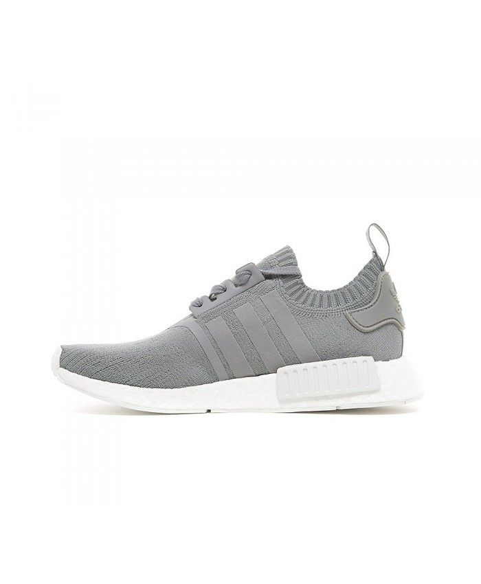 25ed5a59fea8 Adidas NMD R1 Primeknit Trainers In Grey White