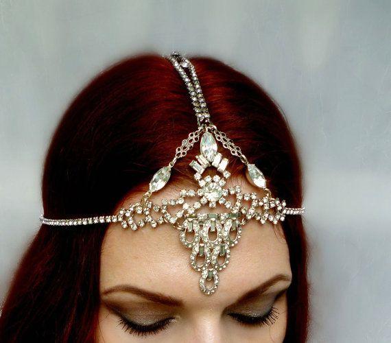 20% Off Great Gatsby Art Deco Headpiece - Bridal Wedding Vintage Rhinestone Silver Filigree Headdress