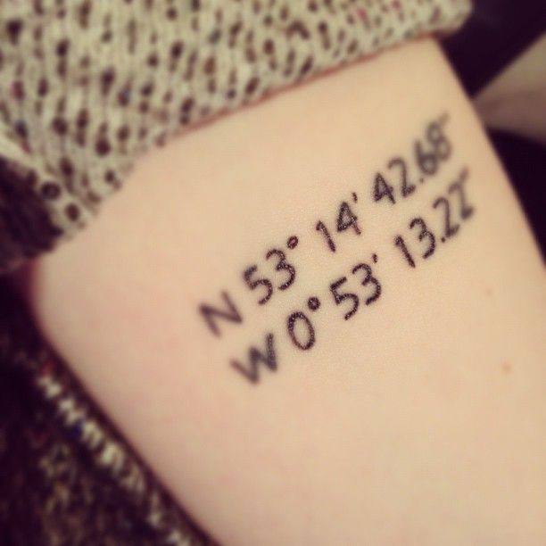 This is my next tattoo! Now I need to find out how to get coordinates. ...