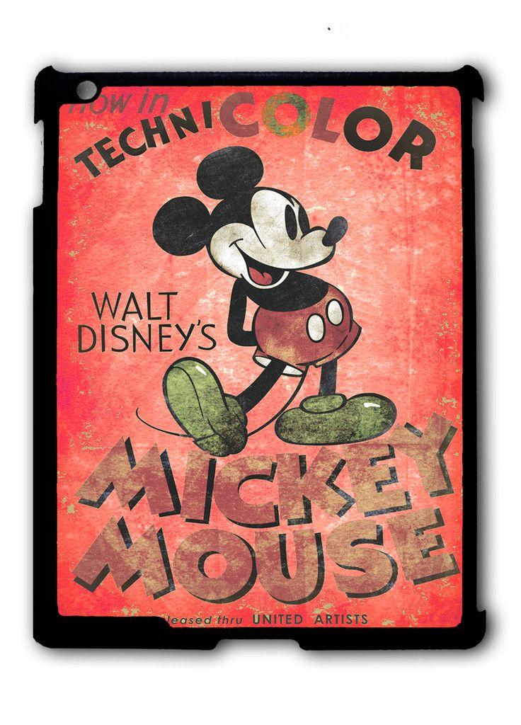 Vintage Dinsey Mickey Mouse Retro Disneyland Ipad Case, Available For Ipad 2, Ipad 3, Ipad 4 , Ipad Mini And Ipad Air