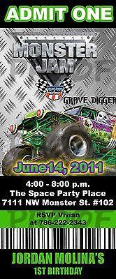 Birthday Monster Jam Grave Digger Ticket Invitation * U Print