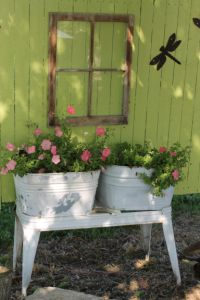 Double antique wash tub in my patio