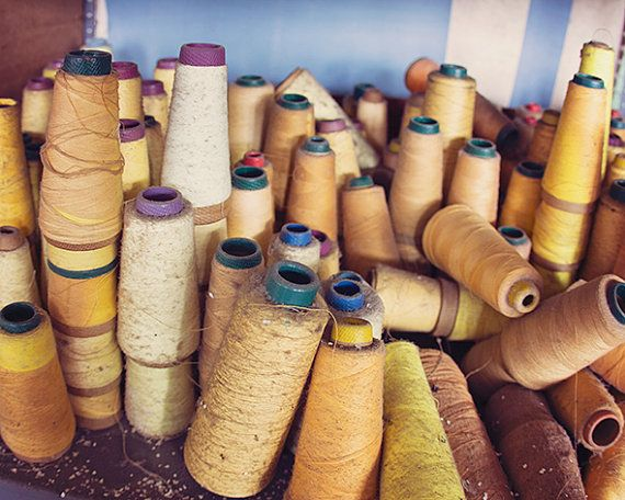 Yellow Home Decor Fine Art Photography, Spools of Mustard Sunshine Yellow Threads, Urban Decay Photography, Sewing Industrial Factory