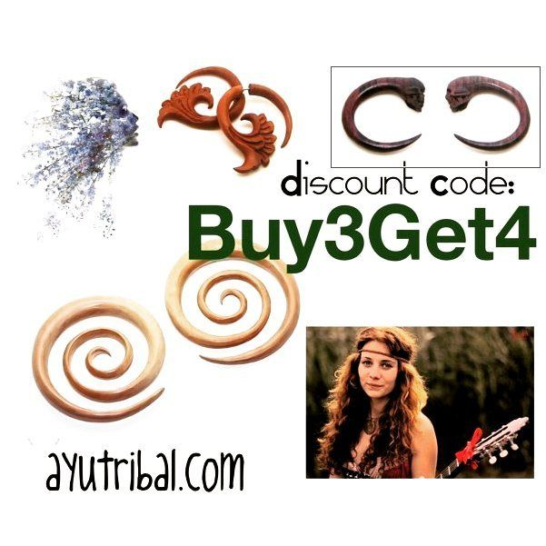 """BUY3GET4"" OR ""BUY5GET7"" its up to you % . Link in Bio  .  ayutribal.com . #ayutribal #ayujewelry #promotion #promo #discount #discountcode #couponcode #organic #earrings #plugs #gauges #buy3get1free #buy3get4 #handmade #tribaljewelry #hippie #hippiestyle #hippielife #girlswithtattoos #girlswithink #freebies"