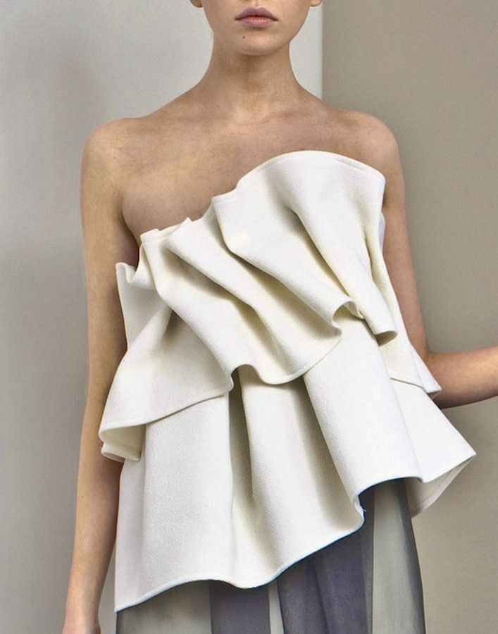 Structural Ruffles - sculpted fabric textures; dimensional details in fashion design