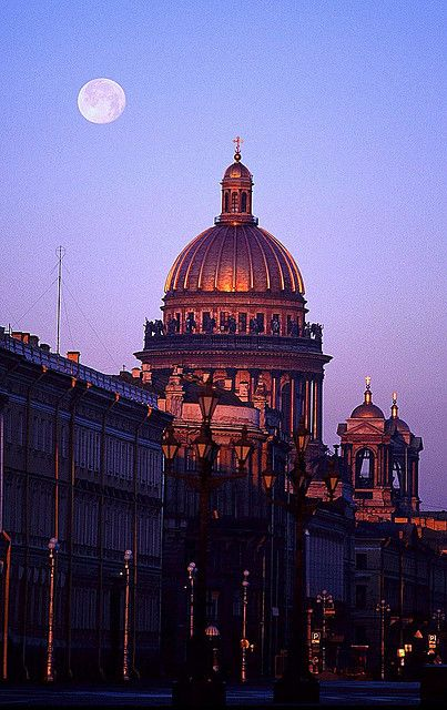 Sunrise in St Isaacs Cathedral, St. Petersburg, Russia
