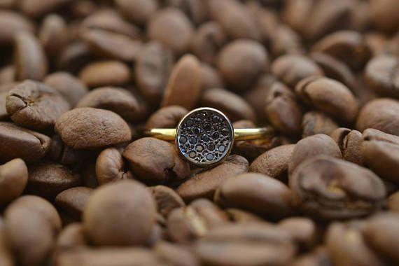 Tiny Black Diamond Circle Solid 18K Gold Ring Dainty Disc Ring