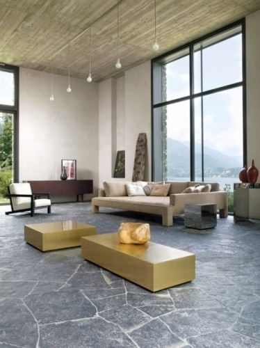 Random flagstone slate flooring is a design statement and for Living room 507