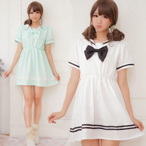Harsh harsh Japanese forest department Super Meng soft sister lolita bow college lantern sleeve waist dress navy sailor