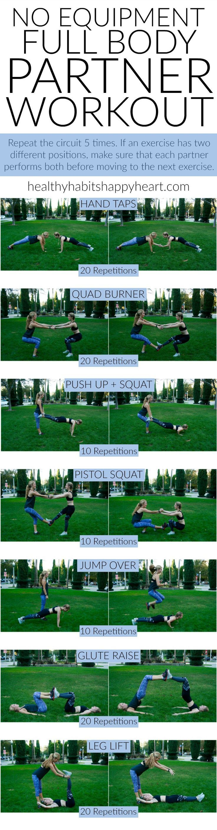 Grab a Friend & Try This Full Body Partner Workout | http://healthyhabitshappyheart.com