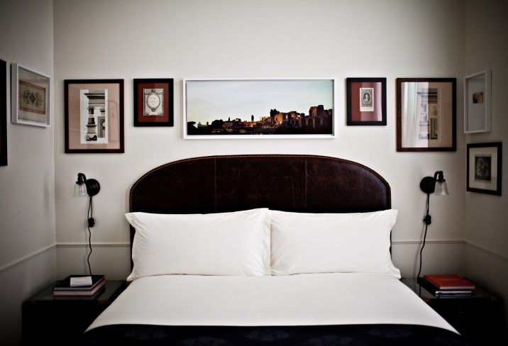 The Nomad Hotel in New York: Nomadhotel, Small Bedrooms, Headboards, Frames, Pictures Arrangements, New York, Leather Headboard, Bedrooms Wall, Nomadic Hotels