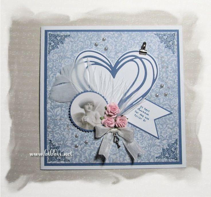 Noen enkle kort i hvitt og blått til salgskurven. Det første er laget med Maja Design ark, Impression Obsession hjerte die, vintage bilde...