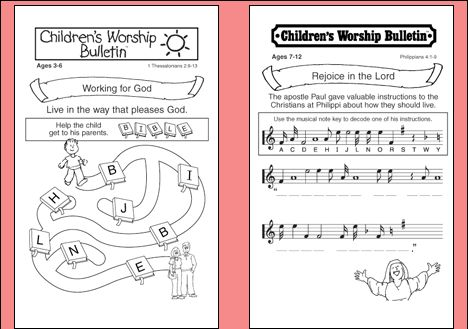 Trust image with free printable children's church bulletins