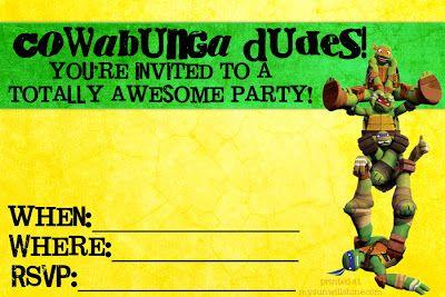 FREE Teenage Mutant Ninja Turtle Birthday Party Printable invites - just fill them in,