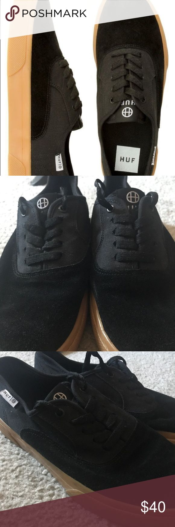 HUF Mateo black/gum shoes Size 8 in men and 9.5 in women. Worn but in good condition HUF Shoes Sneakers