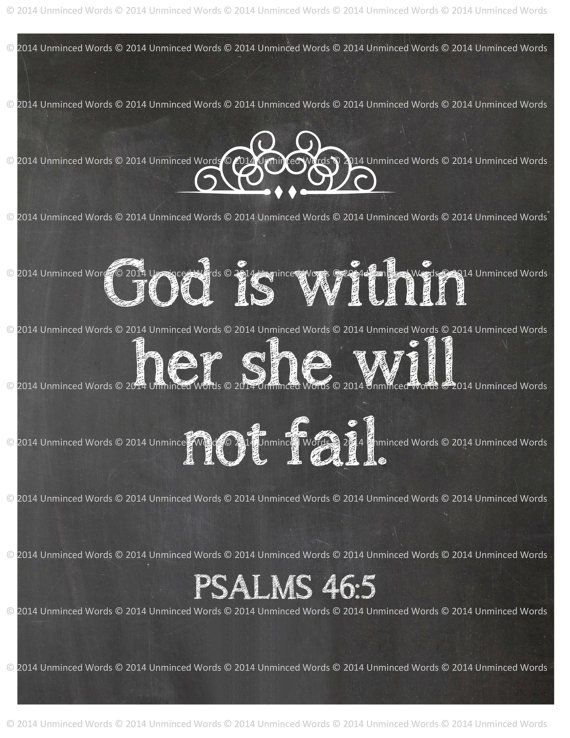 God is within her she will not fail. 8x10. Print. Digital Instant Download