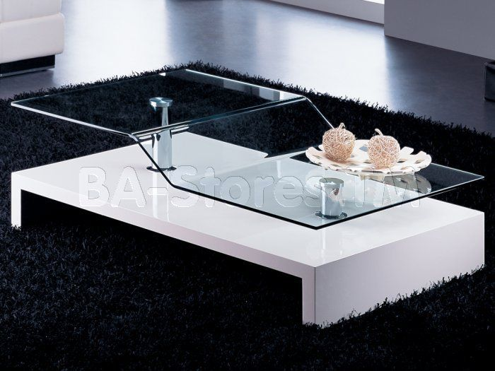 Curved Glass Top Rectangular Coffee Table | White