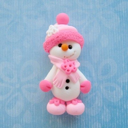 Pink Snowman Bead Polymer Clay Beads Pink. $3.75, via Etsy.