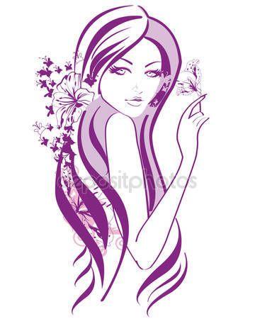 Stáhnout - Abstraktní krásná žena s květinami a motýli v řádcích — Stocková ilustrace #115101646