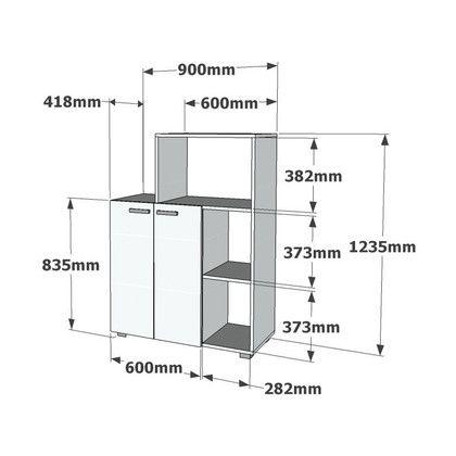 Afmetingen: Dikte: 18 mm Afmeting volledig meubel: 88,2 x 41,8 x 123,5 cm