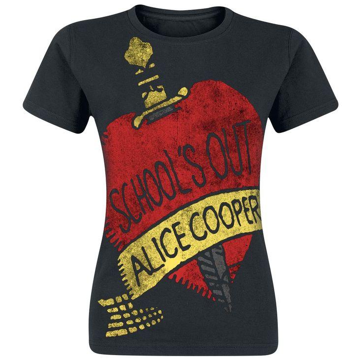 """Maglietta donna maniche corte nera """"School's Out"""" di #AliceCooper."""