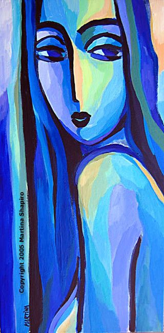 Blue Nude in Blue, original painting contemporary abstract fine art nude by artist Martina Shapiro