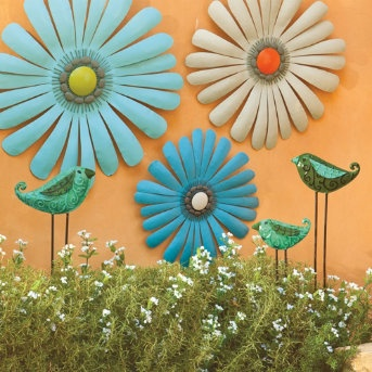 Cheer up any indoor or outdoor space with our Shasta Daisies Metal Wall Art. These fresh, hand-painted metal blooms are powdercoated for displaying outdoors. Hang them all together or separately—they're sure to brighten up any wall.: Flowers Wall, Wall Decor, Wall Hanging, Outdoor Wall, Gardens Wall, Metals Flowers, Metals Wall Art, Outdoor Spaces, Colors Flowers