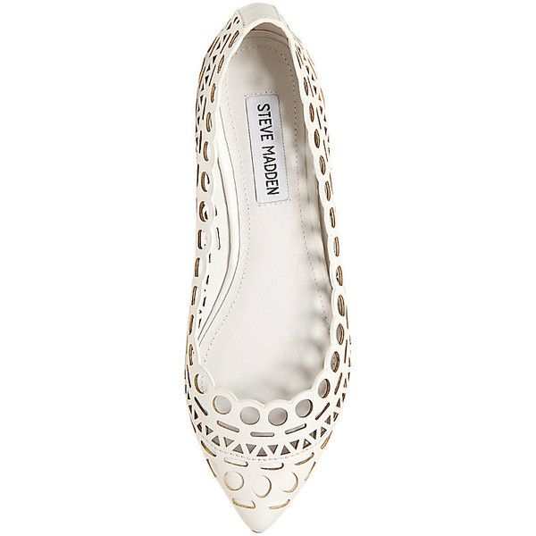 Steve Madden Women's Euphoria Flats found on Polyvore featuring shoes, flats, white, steve madden flats, steve-madden shoes, flat shoes, white flats and laser cut shoes