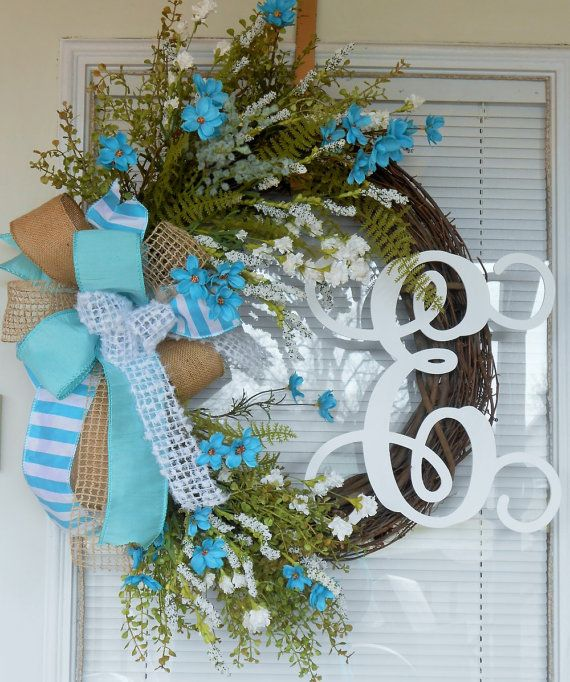Monogram Wreath Spring By CottageHouseWreaths Double Door WreathsFront