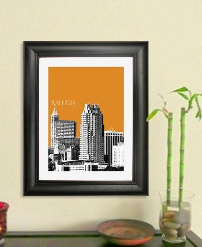 Raleigh Skyline Poster  Raleigh NC City Skyline  Art by DBArtist, $20.00