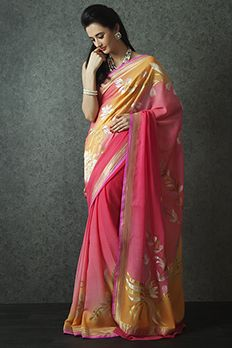 Handloom saree weaved in pure georgette from #Benzer