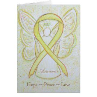 Yellow Awareness Ribbon Angel Custom Greeting Card for Bladder Cancer or Sarcoma/ Bone Cancer