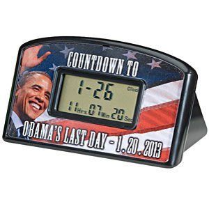 Obama Countdown Clock by Redman CB Gifts. $8.11. Angry about the economy? Fed up with the high cost of healthcare? Are you looking forward to a new president and Barack Obama's Last Day? Can't wait until 1-20-2013? Count down the hours, minutes and seconds with this desktop countdown clock. The clock is 4 inches wide by 2.5 inches high. Once the clock reaches the milestone, it can be reset to start counting again! Reset it over and over through the year 2099 for ...