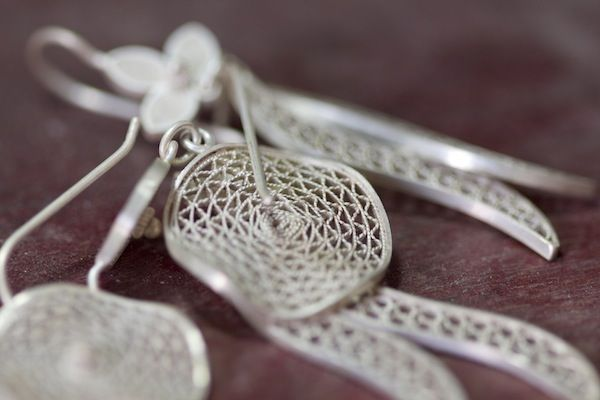 Silver filigree jewelry, typical of Mompox, Colombia