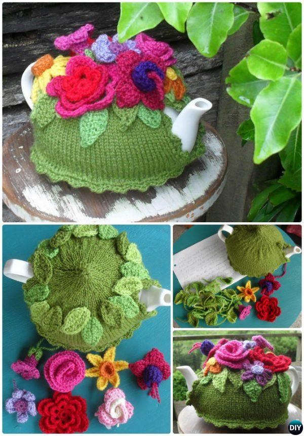 #Knit Spring Explosion Flower Tea Cozy Free Pattern-Crochet Knit Tea Cozy Free Patterns  #Kitchen