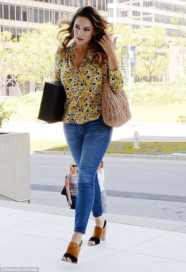 Kelly Brook looks summery in yellow floral blouse and Seventies-style mules as she heads to a meeting in Beverly Hills | Daily Mail Online