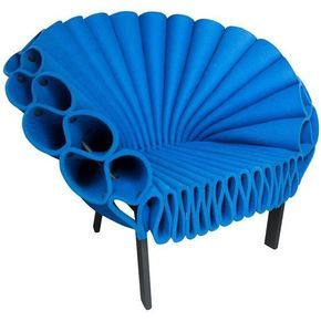 Peacock Chair Designed By Dror Benshetrit For Cappellini, Blue ($6,000) ❤ liked on Polyvore featuring home, furniture, chairs, accent chairs, armchairs, blue, peacock blue furniture, italian chairs, blue armchair and italian furniture