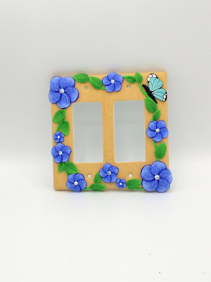 Indigo Flower Switchplate with Butterfly; Double Light Switch Cover; Rocker or Decora Switch; Polymer Clay Switch Plate; Style #:BLF07 by EmilyMah on Etsy