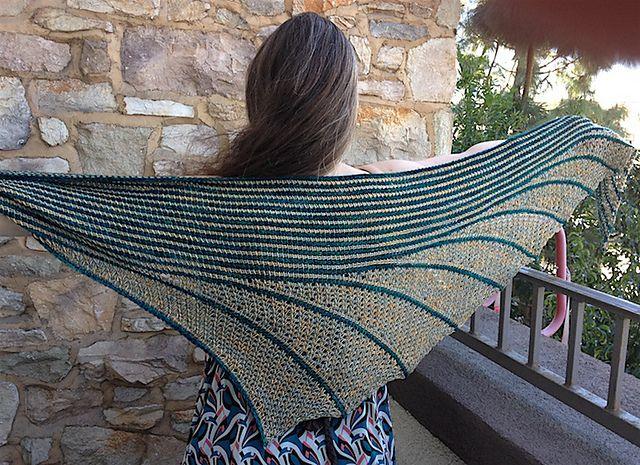 Asymmetrical Tunisian crochet shawl. Ravelry: Schmetterwurm pattern by Christina Adorjan
