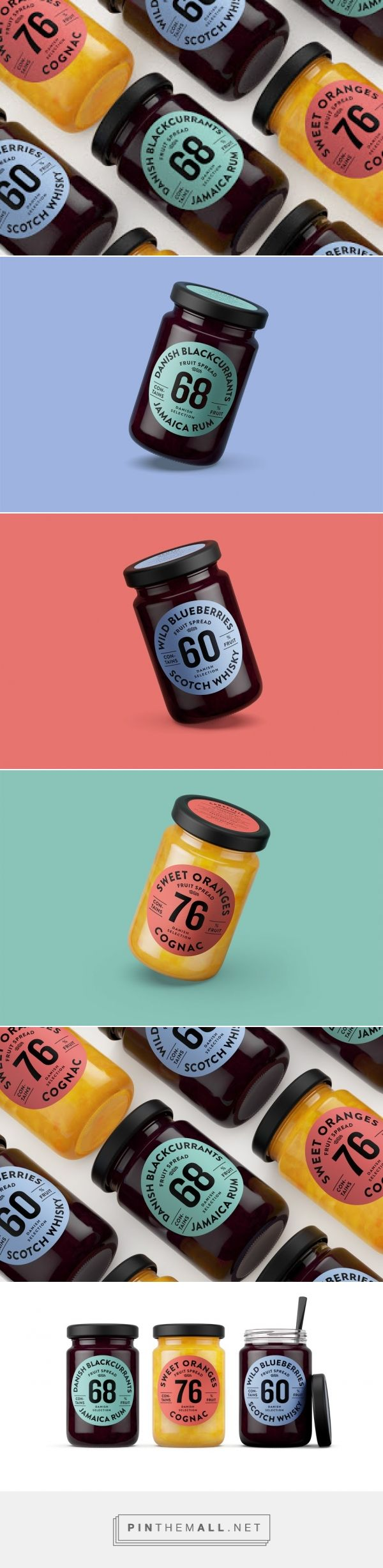Branding and packaging for Orkla Foods on Packaging of the World by Kontrapunkt Denmark curated by Packaging Diva PD. A new perspective on jam. Launching an edgy product with a bold design concept jams with alcohol in it. Millennial yummy.