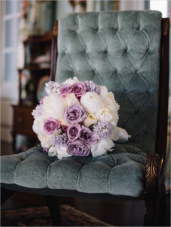 purple and ivory wedding bouquet @weddingchicks