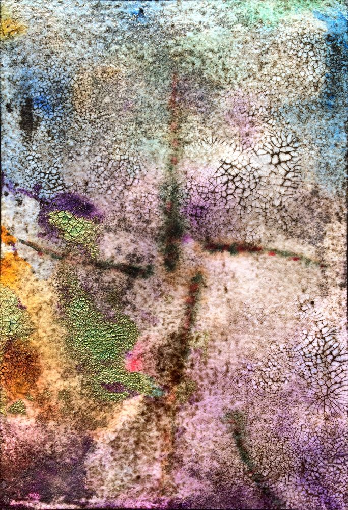 """""""Ad Infinitum"""" from the John Foxx series watercolor, oil, acrylic, resin and mica on Garzapapel paper 4 x 6 inches 2014"""